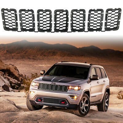 7PC Matte Black Front Honeycomb Grille Inserts for Jeep Grand Cherokee 2017-2019