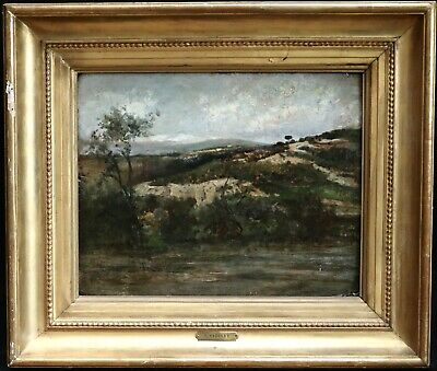 COROT - 19th CENTURY FRENCH BARBIZON OIL ON PANEL ITALY - COLLECTORS MARKS