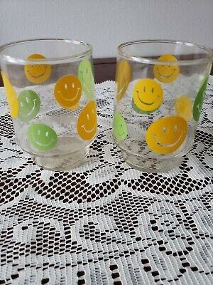 VTG 1970's Smiley Face Glass Tumblers Libbey, Stackable