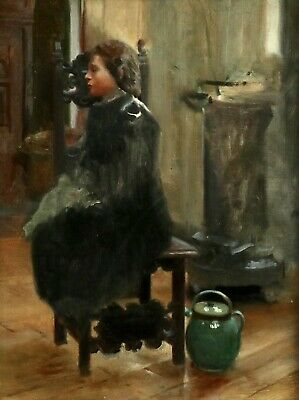 19th CENTURY  FRENCH IMPRESSIONIST OIL CANVAS - YOUNG GIRL SEATED IN INTERIOR