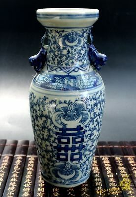 Exquisite Chinese Blue and white porcelain Handmade Antique ornaments Jar Vases