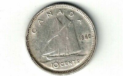Canada 1940 Ten Cents Dime King George Vi .800 Silver Coin Canadian