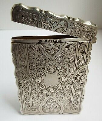 Superb Rare Antique Victorian 1875 Gothic Sterling Silver Card Case George Unite