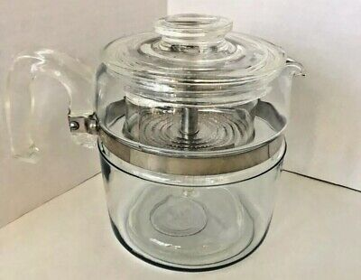 Vintage Large PYREX Coffee Perculator - 4 - 6 CUP Range Stove Top Glass Complete