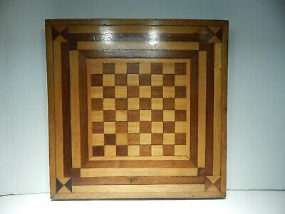 """Antique 1800'S Inlaid Wood Chess Game Board - Excellent Condition - 16 1/2"""""""