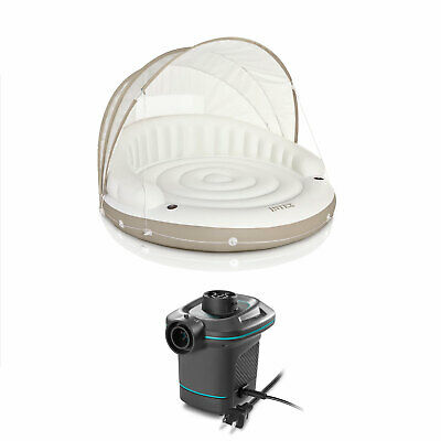 Intex Inflatable Canopy Island Float Lounge + AC Electric Air Pump w/ 3 Nozzles