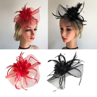 Women's Feather Floral Hair Fascinator Hat Headband Party Hair Accessories