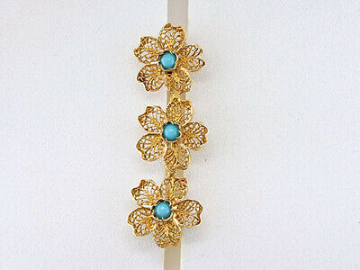 Vintage Turquoise Pin Brooch 18K Yellow Gold Antique Victorian Flowers Filigree