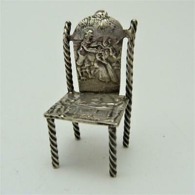 B//O 49MM 1895 DUTCH STERLING SILVER DOLL HOUSE MINIATURE CHAIR HALLMARKED