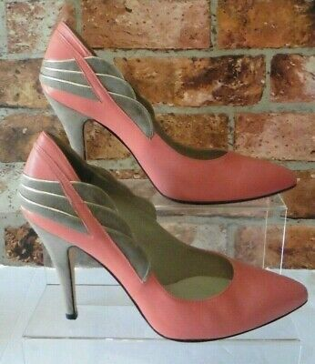 402c3fa2c6 Reiss Coral / Beige Shell Trim Leather Court Shoes Uk 7 / 41 High Slim Heel