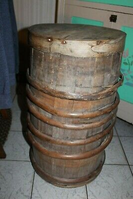 Antique Keg Water Barrel Wood Primitive  bent wood hickory strapping lid 26.5""