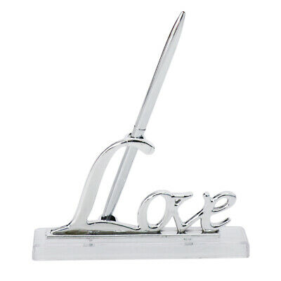 Wedding Party Silver Guest Book Signing Pen Love Sign Stand Table Decor 17cm