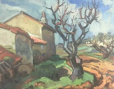 Large 1960'S French Post-Impressionist Signed Oil - Lovel Thick Impasto Paint