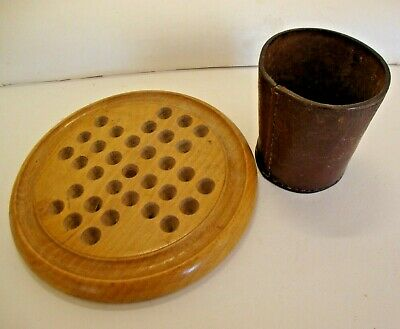 Antique leather dice cup plus vintage beech wood solitaire board