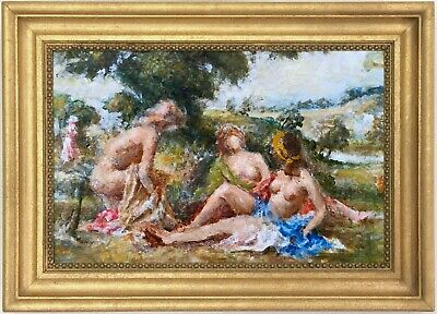 Bathers in a Landscape Antique Oil Painting Early 20th Century English School