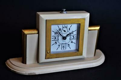 ATTRACTIVE ORIGINAL 1930s FRENCH ART DECO HOLLYWOOD STYLE MANTLE CLOCK