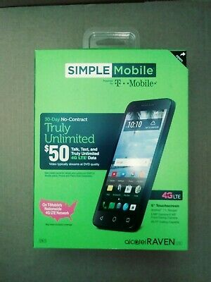NEW SIMPLE MOBILE Alcatel Raven LTE A574B Android 7 1 16GB 5MP 5