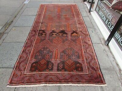 Shabby Chic Traditional Hand Made Persian Oriental Red Wool Long Rug 296x140cm