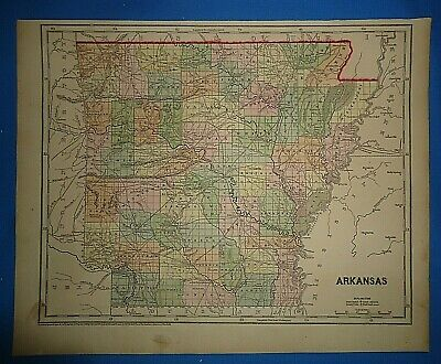 Antique 1856 Hand Colored ARKANSAS MAP Old Authentic Vintage Atlas Map