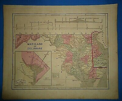 Antique 1856 Hand Colored WASHINGTON DC MARYLAND DELAWARE MAP Authentic Vintage