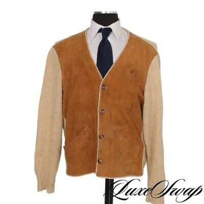 0bffeaa18d3e VTG A. Sulka & Co Made in Italy Oatmeal Knit Snuff Suede Patch Jacket  Cardigan
