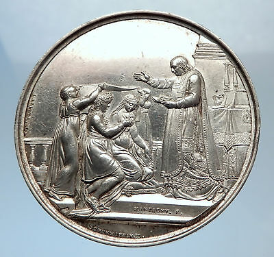 1825 FRANCE Christian PRIEST MARRIES on Antique Silver MARRIAGE MEDAL i71905