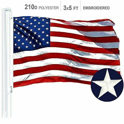 H128 – American Flag US USA   3'x5' ft   EMBROIDERED Stars, Sewn Stripes