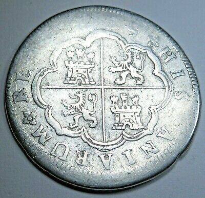 1725 Spanish Silver 2 Real Piece of 8 Reales Pirate Colonial Era Two Bits Coin