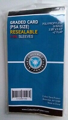 CSP PSA Graded Card Sleeves 50ct Pkg NIP 4 Mil Thickness Resealable 3 3/8x5 1/2
