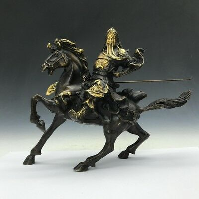 Exquisite Collection Chinese Old rare hand-carved red gilded Guan Yu statue RT