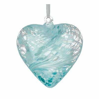 Sienna Glass Pastel Blue 8cm Friendship Heart Hanging Hand Crafted Ornament Gift