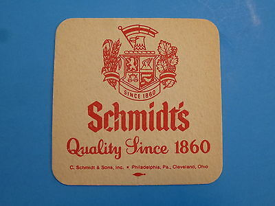 Vintage Beer Bar Coaster ~ SCHMIDT'S Quality Since 1860; Philadelphia, Cleveland
