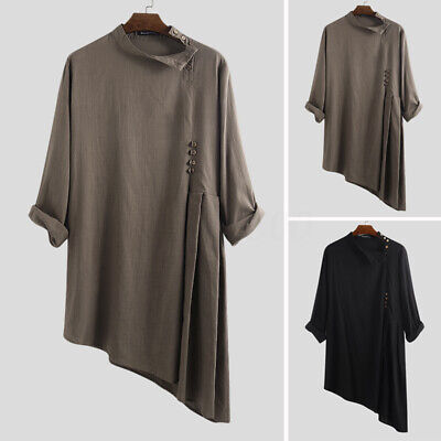 Men's Loose Autumn Long Sleeve Arab Muslim Abayas Middle East Tops Shirts Robes