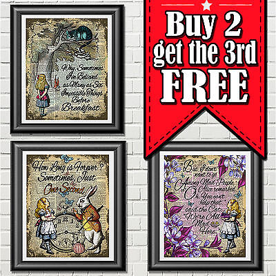 ALICE IN WONDERLAND Art Print On Antique Dictionary Book Page Wall Décor Picture