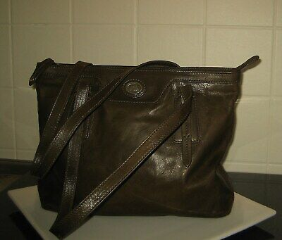 THE Bridge Shopper Schultertasche Rindleder Olive/Braunton