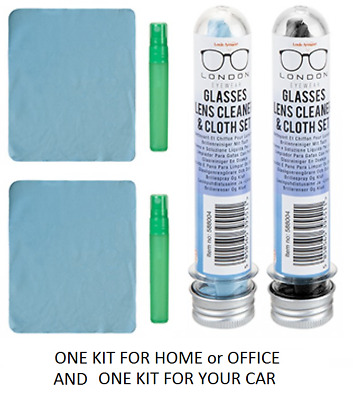 2 x Glass Spectacles Lens Phone, Computer Screen Cleaner Cloth & Fluid Tube Sets