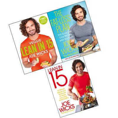 Joe Wicks Collection 3 Books Set Veggie Lean in 15,The Fat Loss Plan,Shift Plan