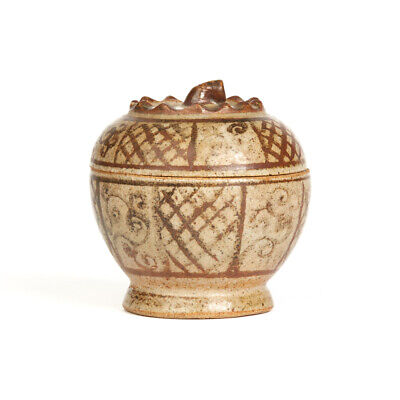Antique Thai Sawankhalok Lidded Pottery Container 15Th C.