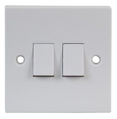 2 Gang 2 Way Light Switch Double Twin 2G White Plastic with Fixing Screws