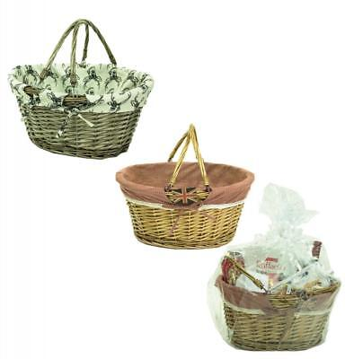 e2e Wicker Shopping Picnic Hamper Basket with Fold Flat Handles & Lining