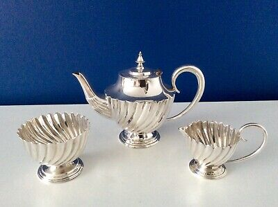 Superb UNUSED 19th Century Silver On Copper Footed Bachelor Tea Set C1870