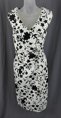 ea22c1c2 Kay Unger NWOT Black White Floral Silhouette V Neck Ruched Accent Dress  Size 14