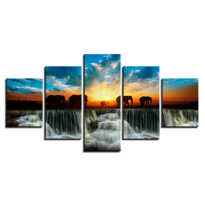 Elephant Family Walking 5 Pieces Canvas Wall Art Painting Poster Home Decor