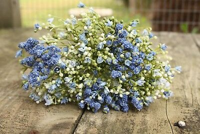 6 x ARTIFICIAL PALE / MID BLUE GYPSOPHILA SPRAYS  WIRED STEMS 28cm