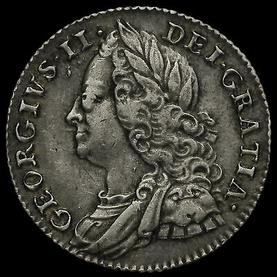 1757 George II Early Milled Silver Sixpence, GVF