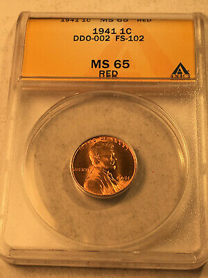 1941  DDO-002 FS-102 Doubled Die Obverse  ANACS MS65 Red Lincoln Cent Error