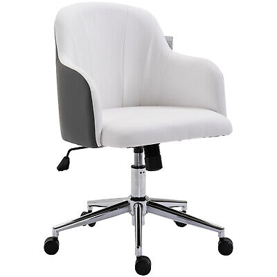 Office Swivel Chair 360 Degree PU Leather Adjustable Height White
