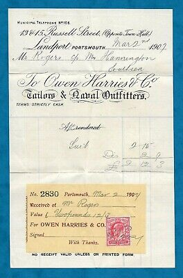 1907 Invoice From Owen Harries & Co, Portsmouth - Tailors & Naval Outfitters