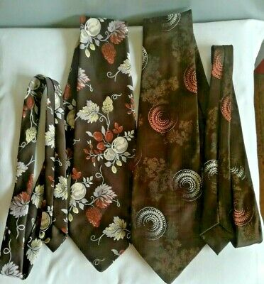 Vintage Tootal Kipper Ties.Brown.Floral,whorls. Polyester. Made in Great Britain