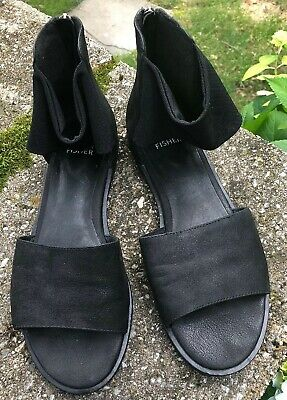 e76977b44 NEW EILEEN FISHER Sign Sandals size 7.5 Platinum Leather - $119.00 ...